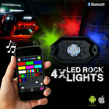LED Rock Lights Aluminum Wireless w/Bluetooth Music RGB Color Accent Under Car