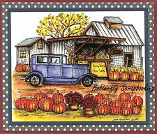 THANKSGIVING Vintage Car Pumpkins Wood Mounted Rubber Stamp NORTHWOODS P9837 New