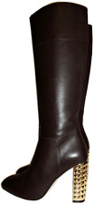 $1795 VALENTINO Boots Rockstuded Gold Heel Brown Least Tall Knee Booties 37 -7