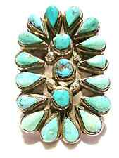 LARGE NATIVE AMERICAN ZUNI STERLING SILVER PETIT POINT TURQUOISE SHIELD RING SZ8
