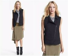 NWT ELIZABETH AND JAMES Sz 10 Willem Black Jacquard Vest Asymmetric Gillet $395