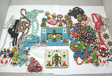 VINTAGE INDIAN SEED BEAD JEWELRY LOT WITH TWO CHANGE PURSES HIPPY CHIC