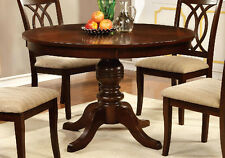"Carlisle Country 48""D Round Pedestal Dining Table Solid Wood in Brown Cherry"