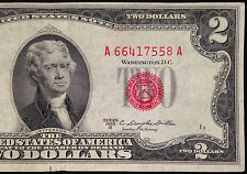 1953-B $2 Two Dollar Bill, Red Seal US Currency, United States Note, 1953B