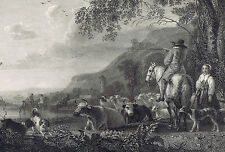 LANDSCAPE & CATTLE with Dogs/Sheep-Cuyp - National Gallery 1836 Steel Engraving