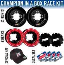 "DWT Red Champion In a Box 10"" Front 8"" Rear Rims Beadlock Rings Yamaha YFZ450"
