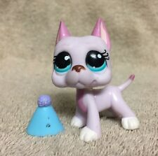 Littlest Pet Shop Lot #1022 Pink White Lilac Great Dane Puppy Dog Aqua Eyes
