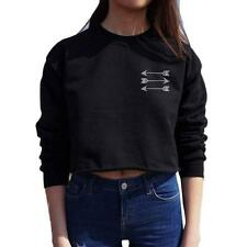 Fashion Women Round Neck Long Sleeve Letter Crop Tops Shirt Sweater