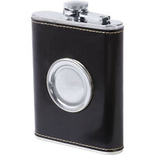 Stainless Steel PU Leather Cover Hip Flask Built-in Collapsible Shot Glass -8 oz