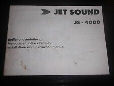 Bedienungsanleitung Autoradio Jet Sound JS 4080 Installation Instruction Tuner