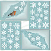 4 Snow Corner Window Clings + 36 Snowflakes Stickers Static Christmas Decoration