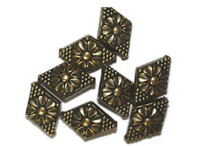 22mm Flower Diamond Antiqued Goldtone Metalized Metallic Beads