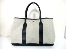 Authentic HERMES Ivory Black Garden Party PM Toile H Leather Handbag Square G