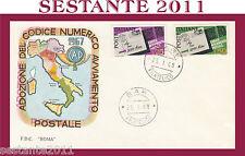 ITALIA FDC ROMA CAP CODICE AVVIAMENTO POSTALE 1968  ANNULLO BARI G152