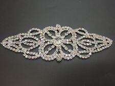 Rhinestone Diamante Applique Sew on Motif Wedding Silver Crystal Patch A67