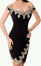 NUOVO Sexy Nero e Oro Pizzo Bodycon Mini Dress Club Party Wear Taglia UK 12-14