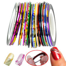 30 Rolls Fashion Colors Striping Tape Line Nail Sticker DIY Kit Art UV Gel Tip