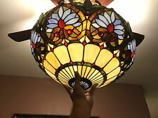 "Vintage Tiffany Style Stained Glass Floor Lamp ""Azure Heart/ 20"" Shade"