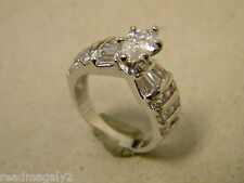 Lady's Women's Rhodium Plated 23 CZ Ring Channel Set Marquise Solitaire Size 8
