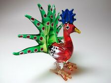 Fantasy MINIATURE HAND BLOWN GLASS Red Peacock FIGURINE Bird Collection