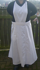 Vintage White Pinny Apron & Bib Very long Victorian Edwardian 8-10 Downton