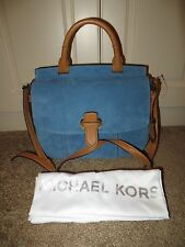 MICHAEL KORS ROMY DENIM BLUE SUEDE LEATHER LARGE TH MESSENGER BAG PURSE NWT