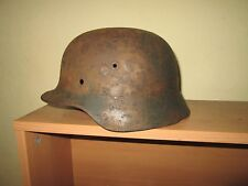 Original WWII German M42 Helmet Relic BATTLE DAMAGET
