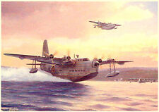 Sunderlands 1944 Flying Boat Beautiful Picture Painting Poster Royal Air Force