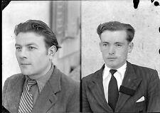 Double portrait hommes - négatif photo identité ancien an. 1940 negative