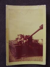 TWO SOLDIER'S SITTING ON 3RD DIVISION TANK, FORT KNOX - Vintage 1949 COLOR PHOTO