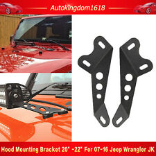 "Hood Mounting Brackets For 20"" - 22"" LED Work Light Bar 07-15 Jeep Wrangler JK"