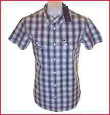 BNWT para hombre Authentic Wrangler Camisa De Manga Corta Nuevo PVP £ 59,99 Grande Azul Slim