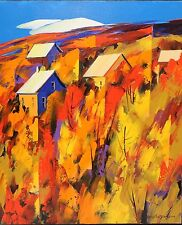 "ORIGINAL AUTUMN 24"" X 20"" CHRISTIAN BERGERON FALL LANDSCAPE ACRYLIC OIL CANVAS"