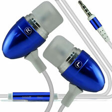 Twin Pack - Blue Handsfree Earphones With Mic For Alcatel One Touch Pixi