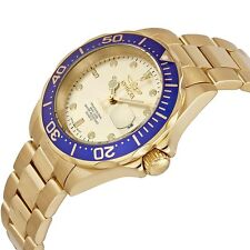 INVICTA PRO DIVER 14124 18k GOLD ION PLATED STAINLESS MEN'S CHRONOGRAPH WATCH