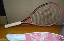 1095/  Wilson Pink HOPE Tennis Racquet ~ with Cover ~ 4 1/2 ~ L4 ~ find the cure