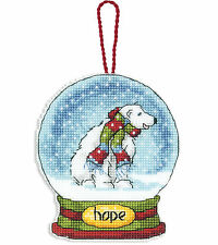 Cross Stitch Kit ~ Dimensions Polar Bear Hope Snow Globe XMAS Ornament #70-08906