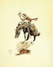CM Russell Bucking Horse and Cowgirl circa 1925 - Print Canvas Giclee Repro 8x10