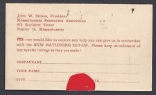 Ca 1917 UNPOSTED REPLY CARD FOR RESTAURANT RATIONING SET UP RULES & HELP, WWI