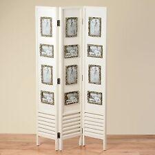 Sublime Paravent en bois en blanc avec Cadre d'image 144cm Hauteur