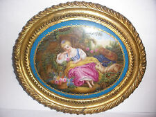 Antique Sevres hand painted victorian woman w/ sheep in garden porcelain plaque