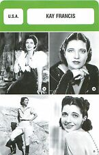FICHE CINEMA USA Kay Francis  ACTRICE ACTRESS
