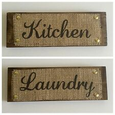 Kirchen & Laundry Wood Burlap Sign Home Decor House Warming Gift Rustic Chic