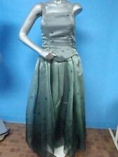 47424 May Queen - FLORAL PRINT Green FULL FORMAL Dress SZ S