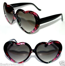 Heart Shaped thick frame Black Pink Green Flower Sunglasses Retro Vintage Love