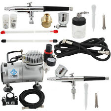 OPHIR Hobby 2-Airbrush Kit 0.2mm 0.3mm 0.5mm Dual Action with110V Air Compressor