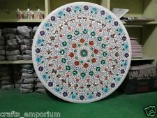 "36"" White Dining Tables Handmade Marquetry Inlay Work Art Mosaic Garden Decor"