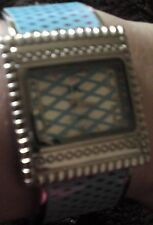 baby blue & silver metal cuff bracelet watch fashion watch