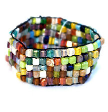 Stretchable Wide Square Stone Bracelet Multicolor Beads Five Row Fits 7-8""