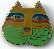 Button – Tan & Green Cat Face - 27mm - Retired Laurel Burch Enamel On Metal